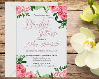 Bridal Shower Invitation with Setup, Bridal Shower, Floral Bridal Shower, Shower Invitation, Printable Invitation, Wedding Shower