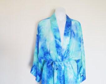 Sheer Cloudy Mermaid Vintage Blue & Sea Green Robe