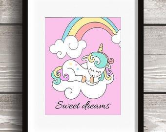Sweet Dreams Rainbow Unicorn 8x10 Digital Wall Art Print - Instant Download - Nursery Girl Clouds Playroom Bedroom Pink Cute