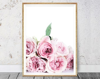 Peony Print - Blush Pastel Pink Bedroom Decor, Large Wall Art, Peony Flower Print, Gift For Her, Printable Download,  Simplistic Home Art