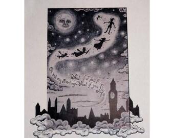 Peter Pan - Flying to Neverland Print