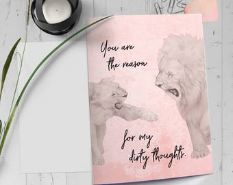 Valentine Card Printable, Sexy Card for Him, Naughty Card for Her, Naughty Quote, Lion and Lioness Art, Kinky Valentines, Naughty Valentines