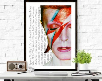 David Bowie, Ziggy Stardust, Digital Download, Print, Wall Art| Music| Glam Rock | Typography | Wall Art | Space Oddity | Music Quote Poster