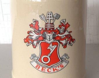 Vintage W. Germany Stoneware Mug .5L Beer Tankard Stein Becks Bier