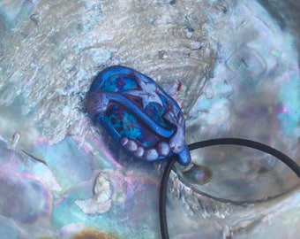 Sea theme handmade clay pendant