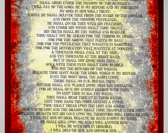 Psalm 91 poster. Printable unique psalm 91 prayer Carzd wall decor. A2 psalm 91 poster. Bible Verse print. Full chapter psalm 91 poster.