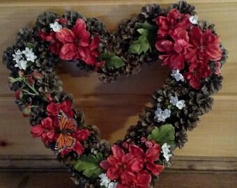 Handmade heart shaped pinecone wreath