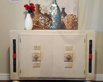 Art Deco refinished Cream Sideboard/ Buffet Cabinet/ Lounge/Dining Room/Storage