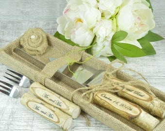 Rustic Country Chic Wedding Knife Set, Natural Birch Branch, Cake Serving Set Rustic Wedding Cake, Server and Knife