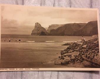 vintage postcard, postcard, vintage cards, vintage tintagel postcard, vintage bossiney sands tintagel postcard, Long Island tintgel