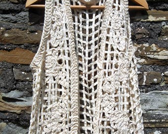 Vintage 70s crochet knit woven ribbon sleeveless  vest tunic tank top waistcoat   Cream  Size  M
