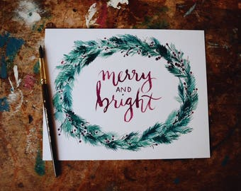 Pine Wreath Print - Merry and Bright Christmas