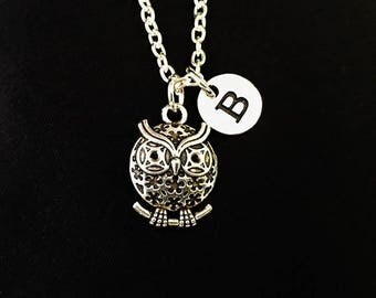 Owl Necklace, Owl gift, Owl charm, Owl jewelry, Initial silver Necklace, Owl Pendent, personalised gift