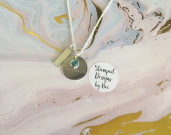 Hand Stamped Initial and Date Necklace