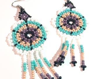 Huichol Earrings/ Beads/Fiesta/Mexican/Gifts/Cinco de Mayo/For her/Flower Earrings