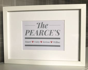 Personalised Family Frame