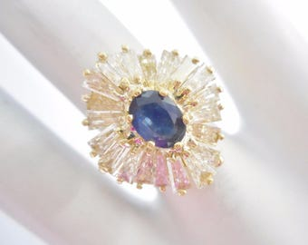 Sapphire Ring, Diamond Ring, Sapphire And Diamond, Vintage Ring, 18k Yellow Gold 1.9 CTW Natural Sapphire & Diamond Cluster Ring #3081