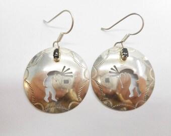 Kachina Earrings, Sterling Earrings, Dangle Earrings, Native American Sterling Silver Black Onyx Kachina Dancer Hook Earrings #3760