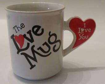 The Love Mug, White Mug, Heart Mug