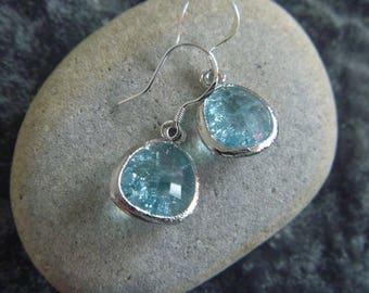 Silver Earrings: crystal blue