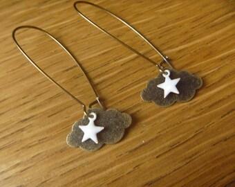 Fall and rain cloud: bronze earrings