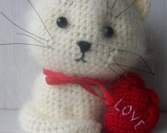 Toy Fluffy Cat, Cute Toy Cat, Knitted Handmade Cat, Cat Lover Toys, Knit Toy Cat, gift-for-woman,