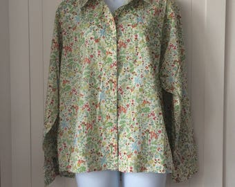Vintage Liberty Long Sleeve Blouse/Shirt - in a lovely green floral Tana Lawn - in a size 18
