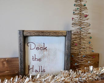 Wood sign, deck the halls, Christmas sign, rustic wood sign