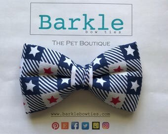 Stars and Stripes Blue Dog Bow Tie