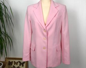 Spencer woman / pink suit jacket / suit Jacket / Women vintage clothing / pale pink Blazeur white stripes