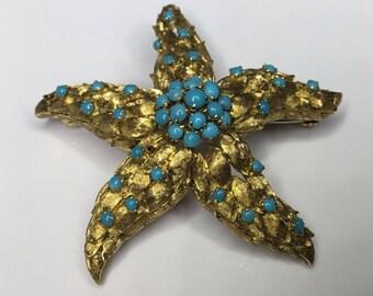 Estate Retro Antique Italian 18K Yellow Gold Turquoise Star Starfish Brooch Pin