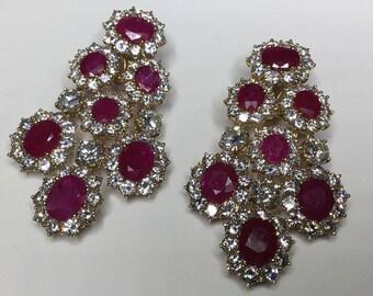 Estate 18K Yellow Gold 59.4 CTW Ruby & Diamond Chandelier Earrings 45 Grams