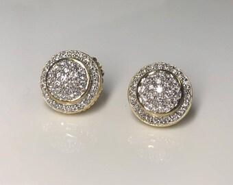 Estate David Yurman Designer 18K Yellow Gold 1.00 CTW Diamond Cluster Earrings
