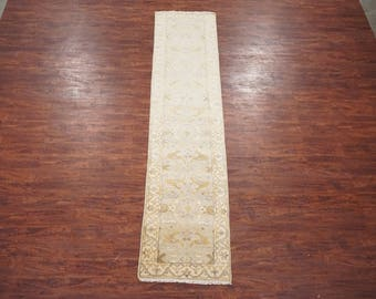 3X18 Oushak Runner - Vegetable Dye Antiqued Hand-Knotted Area Rug - Wool Carpet (2.7 x 17.9)