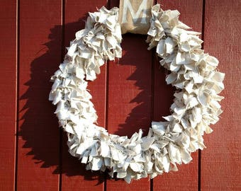 "24"" Bleached Canvas Drop Cloth Wreath, Personalized Burlap, Farmhouse, Large, Neutral, Cream, Thanksgiving, Fall, Winter, Spring, Summer"