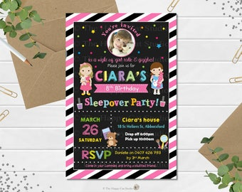 Sleepover Invitations, Slumber Party Invitation, Sleep Over Invite, Pajama, Thank You Card,  Girls Birthday, Personalized, Digital Download