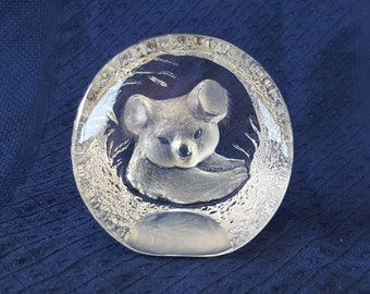 Mats Jonasson Glass Koala Bear Paperweight.