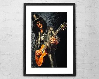 Slash - Illustration - Guns N Roses - Rock Poster - Guns N Roses Poster - Guns N Roses Art - Slash Poster - Rock and Roll - Velvet Revolver