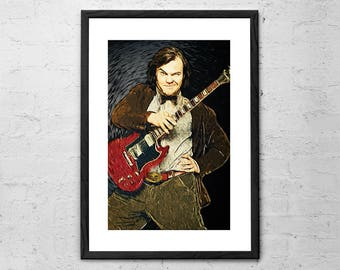 Jack Black - Illustration - School of Rock - Tenacious D - Rock Poster - Rock and Roll Art - Heavy Metal - Hard Rock - Music Poster - Comedy