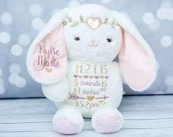 Baby Girls Birth Stat Bunny,  Keepsake Elephant, Birth Announcement Elephant, Monogrammedn Bunny, Newborn Gift, Personalized Bunny Plush