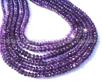 Amethyst (African), Rondelle Micro Faceted, Quality A, 4.50 to 5.50 mm, 36 cm, 112 Pieces, AMET-012/2, Semiprecious Gemstone Beads