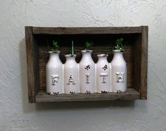 Reclaimed Wood Shadow Box, Shadow Box with Ceramic Milk Bottles, Inspirational Wall Decor, Rustic Wood Shadow Box, Faith Home Decor
