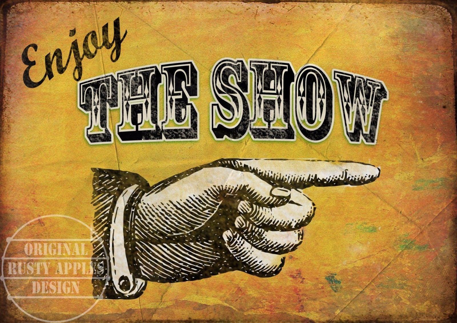 Enjoy The Show Vintage Style Funfair Circus Metal Sign Home Decor ...