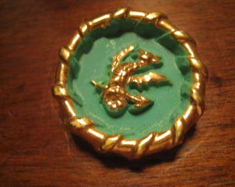 Antique button unsigned ceramic button 33 mm