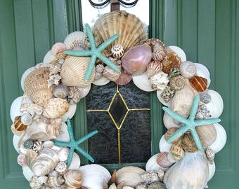 Another day in Paradise -Handmade Door Seashell Wreath for all those Beach Lovers
