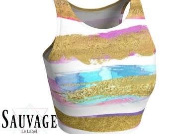 Gold on Pastels • Athletic crop top • Festivals and yoga classes approved • handmade in Montreal - XS to XL