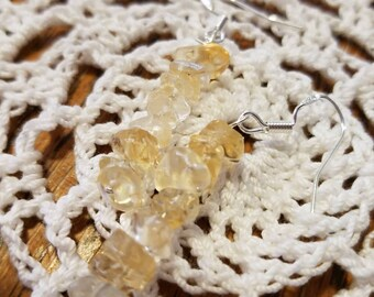Genuine Citrine chip earrings with Sterling Silver.