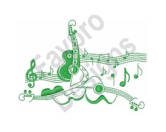 Guitar & Music - Machine Embroidery Design