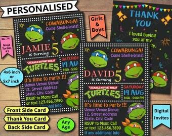 Ninja Turtles Invitation, Ninja Turtles Birthday Invite, Ninja Turtles Birthday Invitation, Ninja Turtle Birthday Party Invite, Ninja Turtle