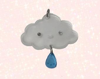Raindrop Cloud Lasercut Acrylic Charm